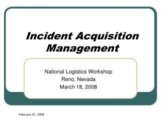 Occurrence Acquisition Management
