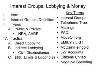 Vested parties, Lobbying Money