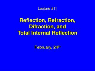 Address 11 Reflection, Refraction, Difraction, and Total Internal Reflection