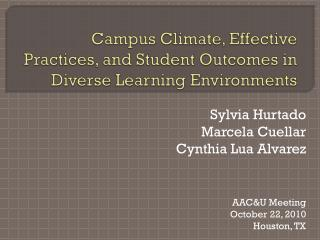 Grounds Climate, Effective Practices, and Student Outcomes in Diverse Learning Environments
