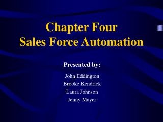Part Four Sales Force Automation