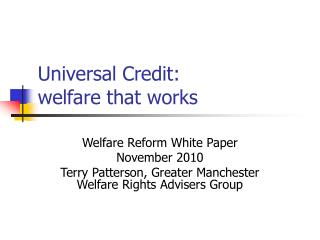 Widespread Credit: welfare that works