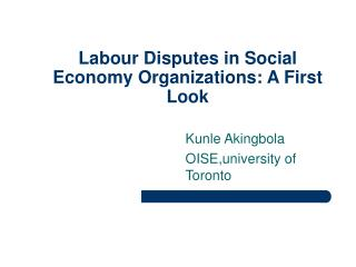 Work Disputes in Social Economy Organizations: A First Look