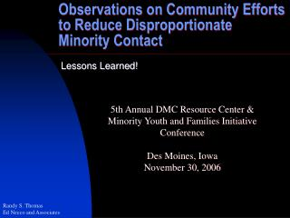 Perceptions on Community Efforts to Reduce Disproportionate Minority Contact