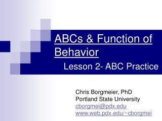 ABCs Function of Behavior Lesson 2-ABC Practice