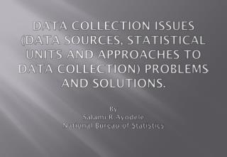 Information COLLECTION ISSUES DATA SOURCES, STATISTICAL UNITS AND APPROACHES TO DATA COLLECTION PROBLEMS AND SOLUTIONS.