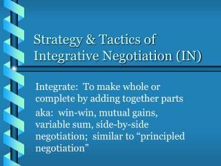 System Tactics of Integrative Negotiation IN
