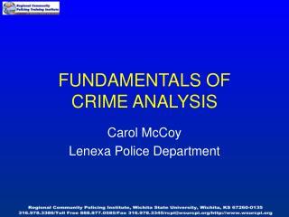 Essentials OF CRIME ANALYSIS