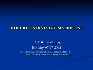BIOPURE STRATEGIC MARKETING