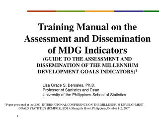 Instructional booklet on the Assessment and Dissemination of MDG Indicators GUIDE TO THE ASSESSMENT AND DISSEMINATION O