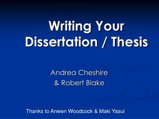 Composing Your Dissertation
