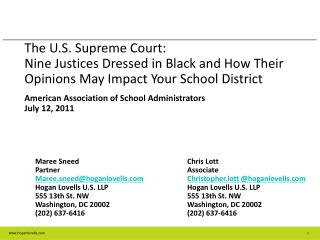 The U.S. Preeminent Court: Nine Justices Dressed in Black and How Their Opinions May Impact Your School District
