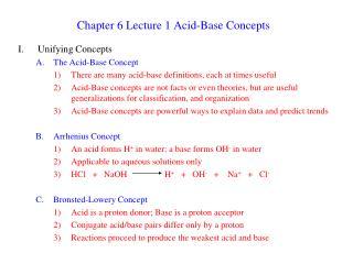 Section 6 Lecture 1 Acid-Base Concepts