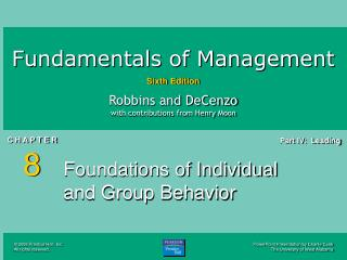 Establishments of Individual and Group Behavior