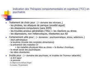 Sign des Th rapies comportementales et cognitives TCC en psychiatrie
