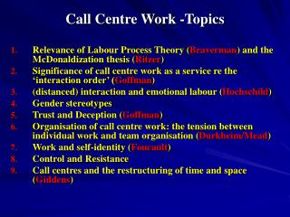 Call Center Work - Topics