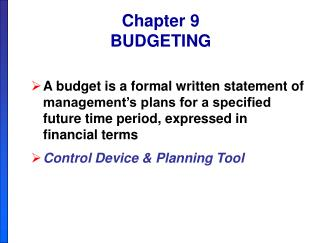 Section 9 BUDGETING
