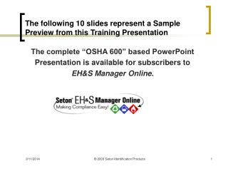The accompanying 10 slides speak to a Sample Preview from this Training Presentation