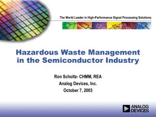 Unsafe Waste Management in the Semiconductor Industry