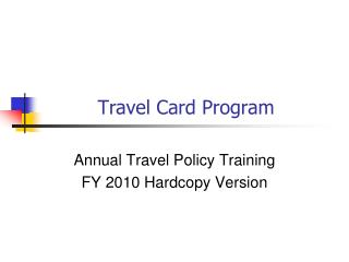 Travel Card Program