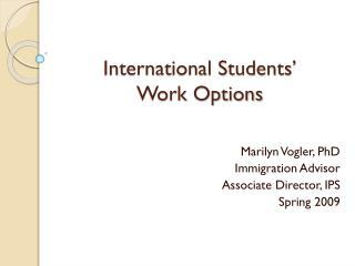 Worldwide Students Work Options