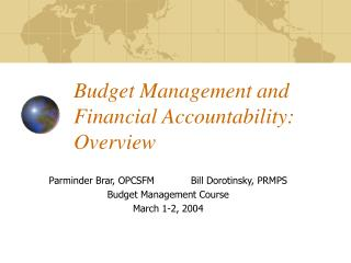 Financial plan Management and Financial Accountability: Overview