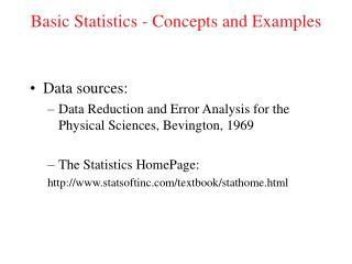 Fundamental Statistics - Concepts and Examples