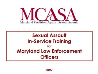 Rape In-Service Training for Maryland Law Enforcement Officers
