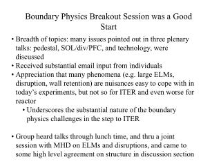 Limit Physics Breakout Session was a Good Start