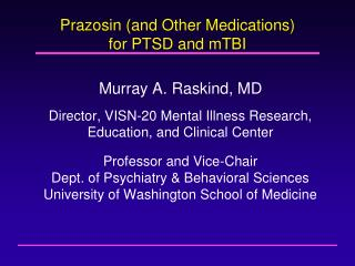 Prazosin and Other Medications for PTSD and mTBI