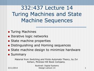 332:437 Lecture 14 Turing Machines and State Machine Sequences