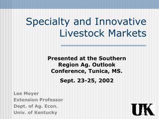 Claim to fame and Innovative Livestock Markets