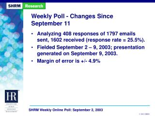 Week after week Poll - Changes Since September 11