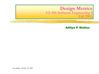Plan Metrics CS 406 Software Engineering I Fall 2001