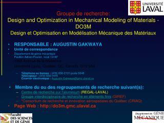 Groupe de recherche: Design and Optimization in Mechanical Modeling of Materials - DO3M Design et Optimization en Mod l