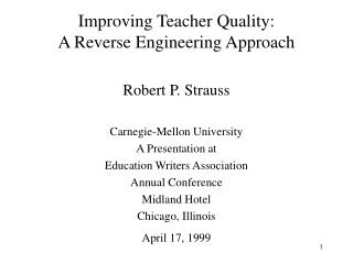 Enhancing Teacher Quality: A Reverse Engineering Approach