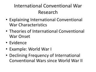 Worldwide Conventional War Research