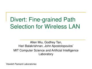 Redirect: Fine-grained Path Selection for Wireless LAN
