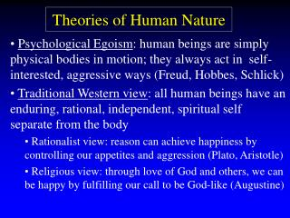Hypotheses of Human Nature