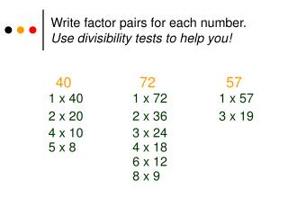 Compose element sets for every number. Use distinctness tests to help you