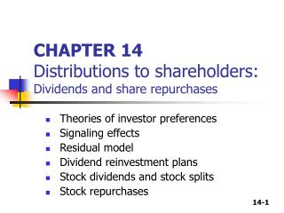 Part 14 Distributions to shareholders: Dividends and offer repurchases
