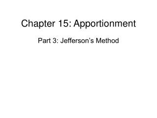 Part 15: Apportionment