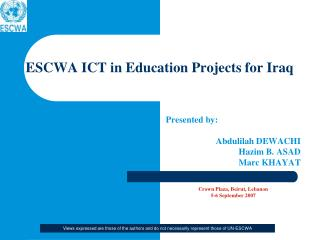 ESCWA ICT in Education Projects for Iraq