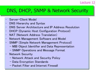 DNS, DHCP, SNMP Network Security
