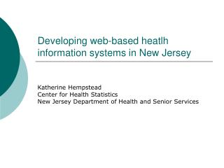 Creating online heatlh data frameworks in New Jersey