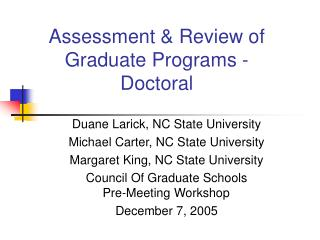 Appraisal Review of Graduate Programs - Doctoral