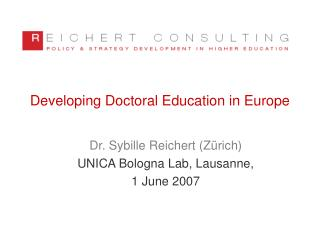 Creating Doctoral Education in Europe