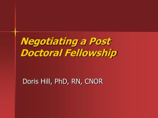 Arranging a Post Doctoral Fellowship