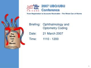 Instructions: Ophthalmology and Optometry Coding Date: 21 March 2007 Time: 1110 - 1200