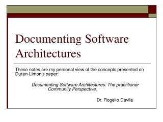 Recording Software Architectures
